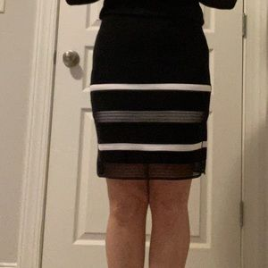 WHBM Black & White Pencil Skirt